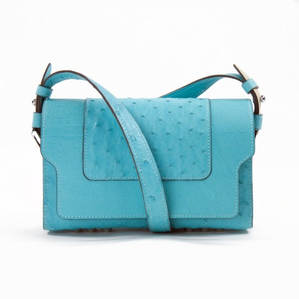 Sac LITTLE NICKI Autruche Azur - Atelier Clause