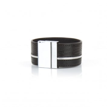 Bracelet JIL Java et veau Deep Black - Atelier Clause