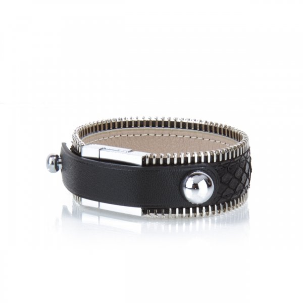 Bracelet ZIGGY Python Deep Black Atelier Clause