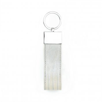 Key Ring TURN'LOCK Lizard Cream patine argent Atelier Clause